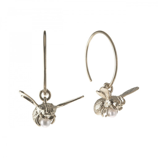 Alex Monroe Earrings Alex Monroe silver and pearl flying bee hoop earrings