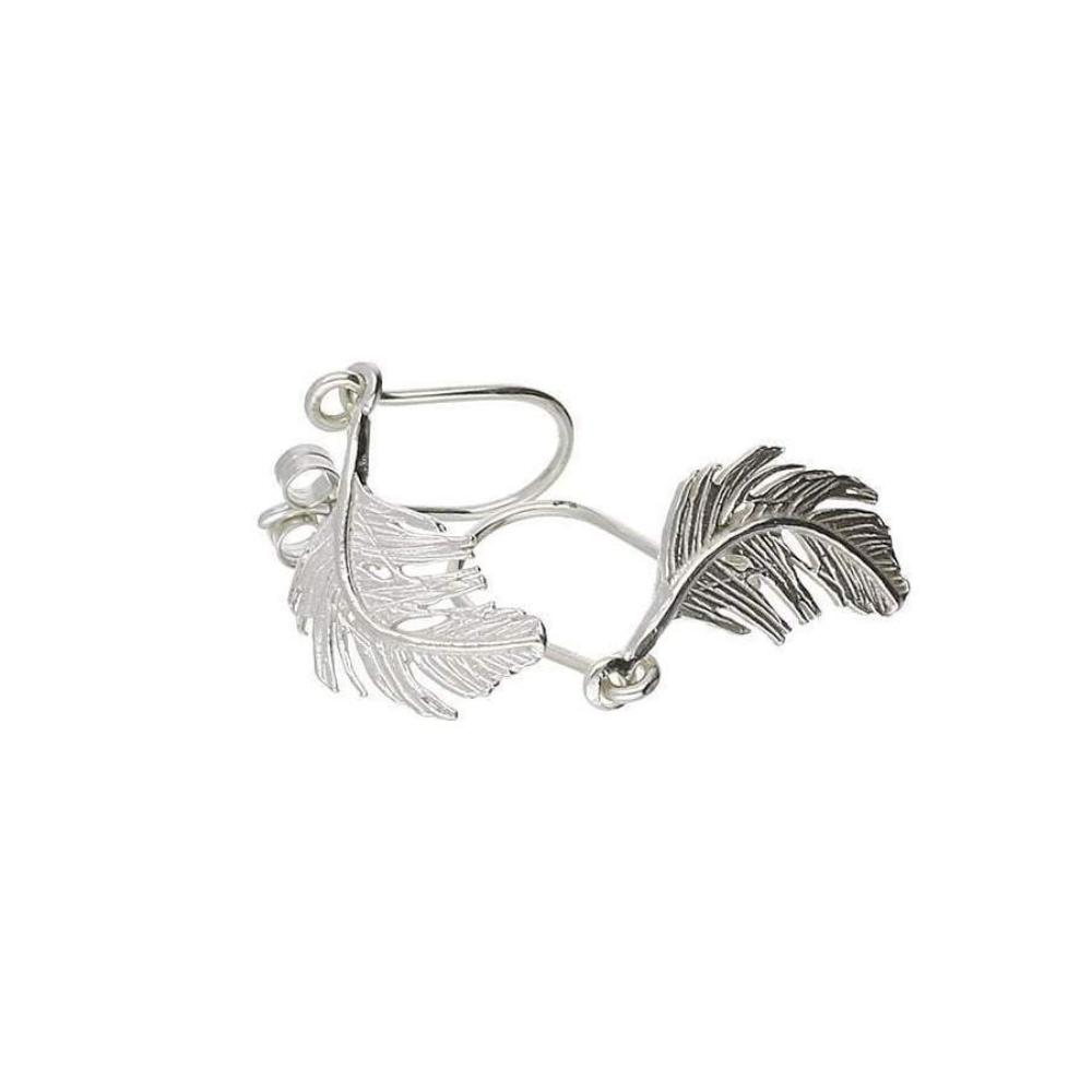 Alex Monroe Earrings Alex Monroe Silver feather hook earrings