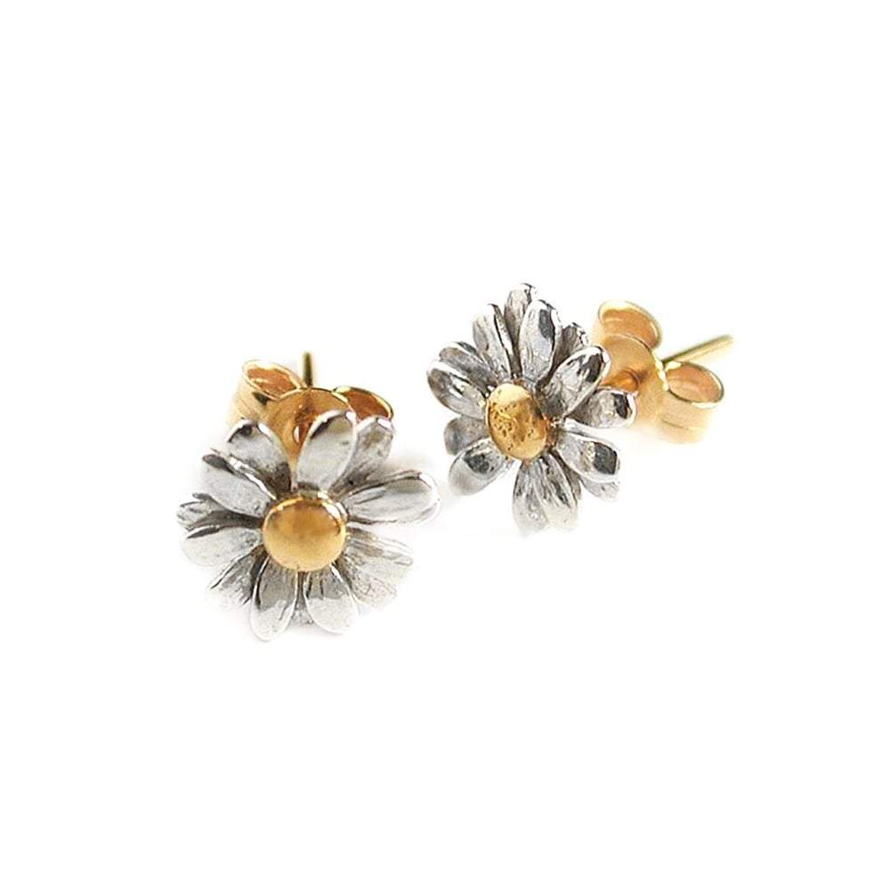 Alex Monroe Earrings Alex Monroe Silver gold daisy stud earrings