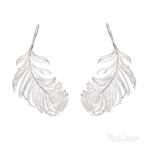 Alex Monroe Earrings Alex Monroe Silver peacock feather hook earrings