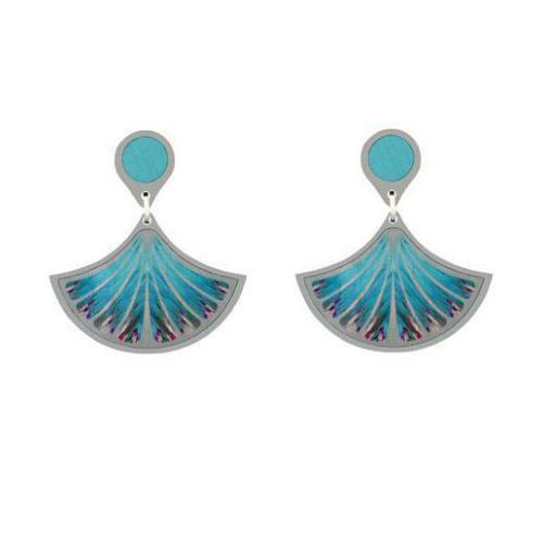 Aluminium Designs Earrings Aluminium Designs blue feather drop earrings