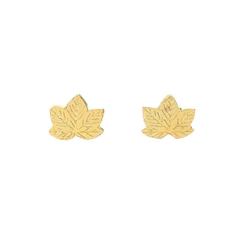 Amanda Coleman Earrings Amanda Coleman gold plated Silver sycamore leaf stud earrings