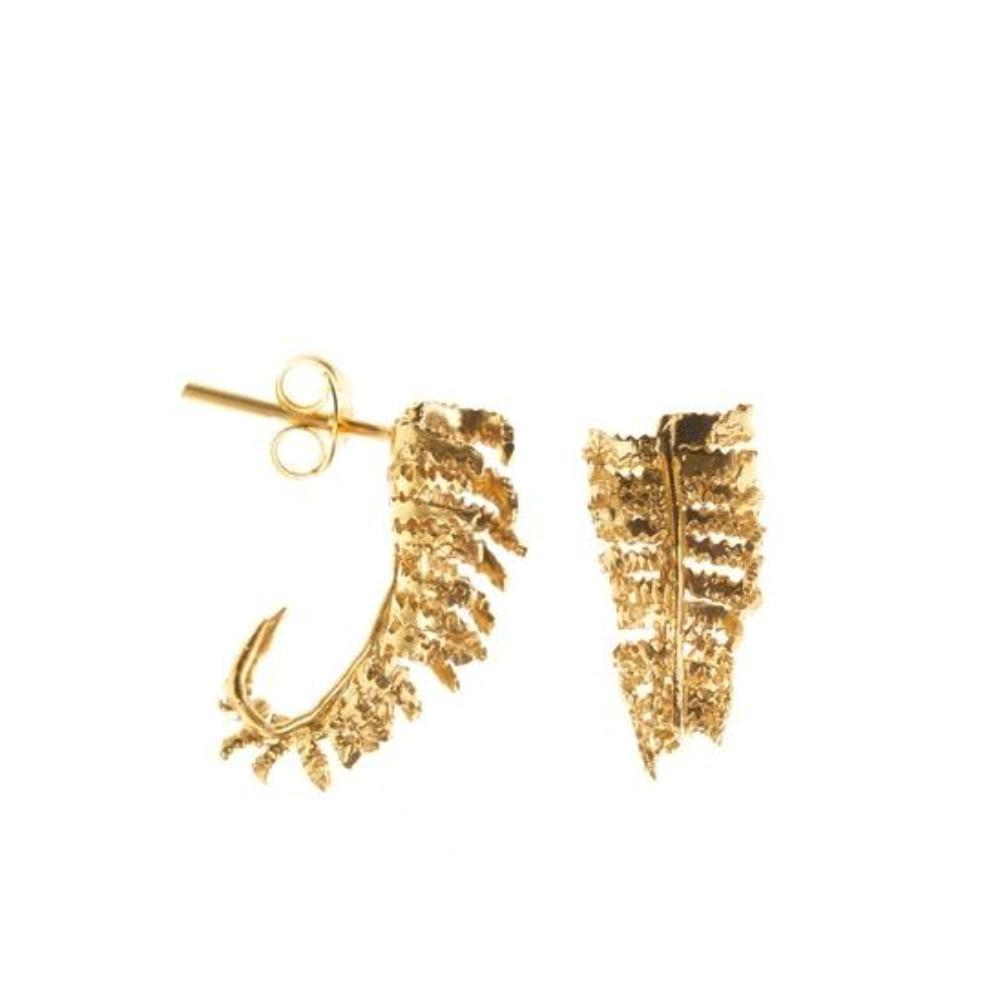 Amanda Coleman Earrings Amanda Coleman gold unfurling fern stud earrings