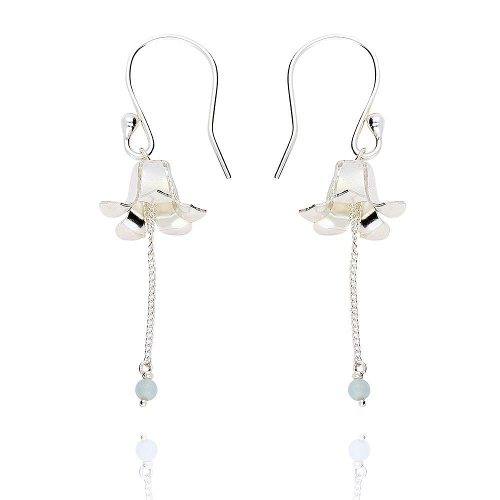 Amanda Coleman Earrings Amanda Coleman Silver amazonite bell flower hook earrings