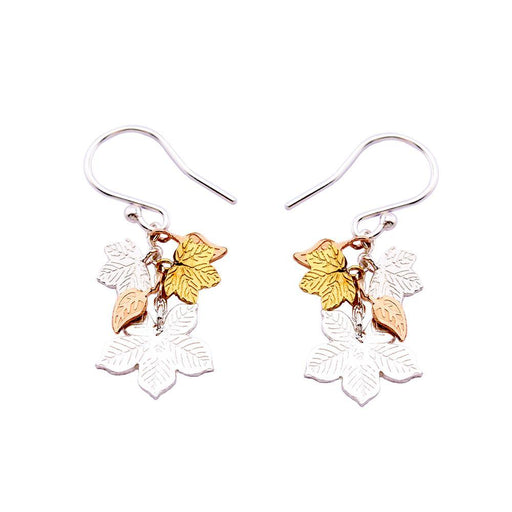 Amanda Coleman Earrings Amanda Coleman Silver and gold plated leaf cluster hook earrings