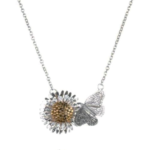 Amanda Coleman Necklace Amanda Coleman Silver gold daisy butterfly necklace