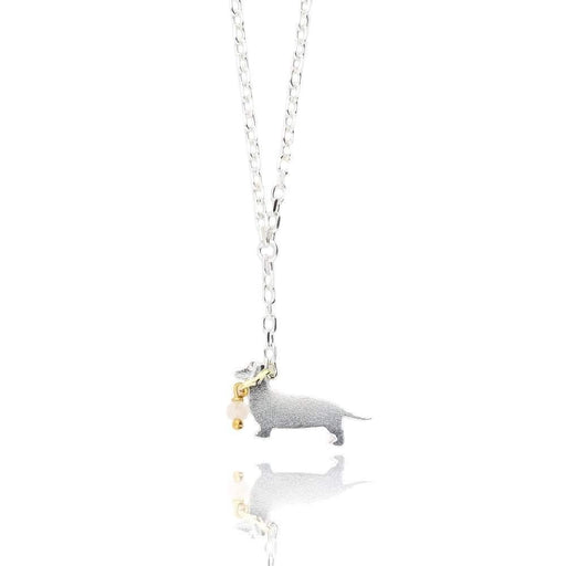 Amanda Coleman Necklace Amanda Coleman Silver gold moonstone sausage dog necklace