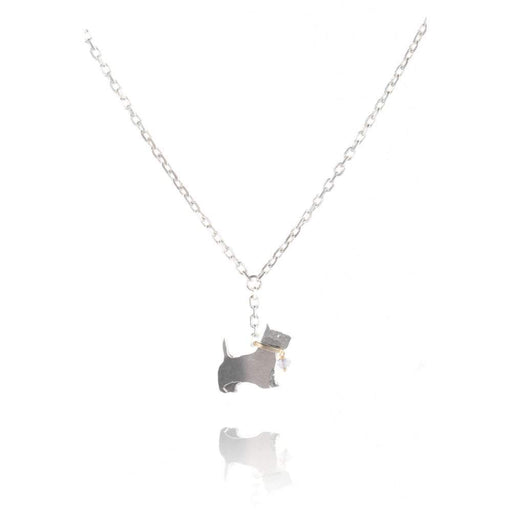 Amanda Coleman Necklace Amanda Coleman Silver gold moonstone scottie dog necklace