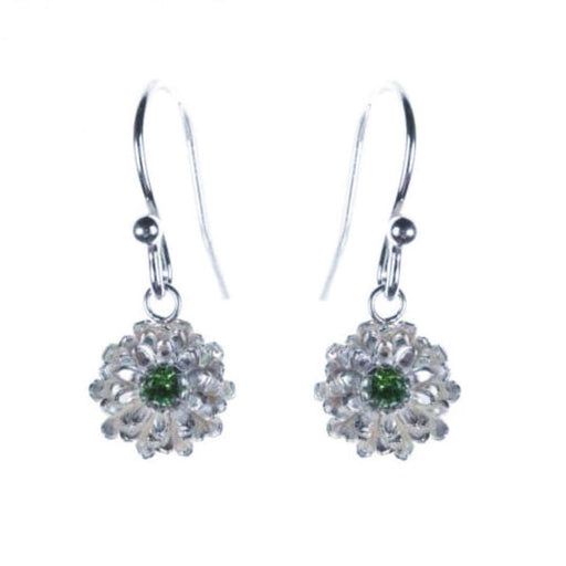 Amanda Coleman Earrings Amanda Coleman Silver green tourmaline dahlia hook earrings