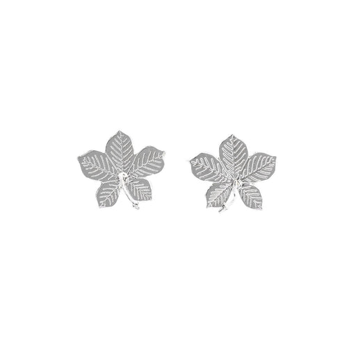 Amanda Coleman Earrings Amanda Coleman Silver horse chestnut leaf stud earrings