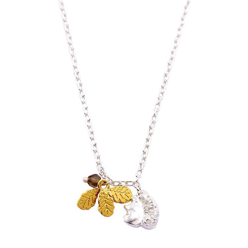 Amanda Coleman Necklace Amanda Coleman Silver squirrel and gold plated oak leaf necklace
