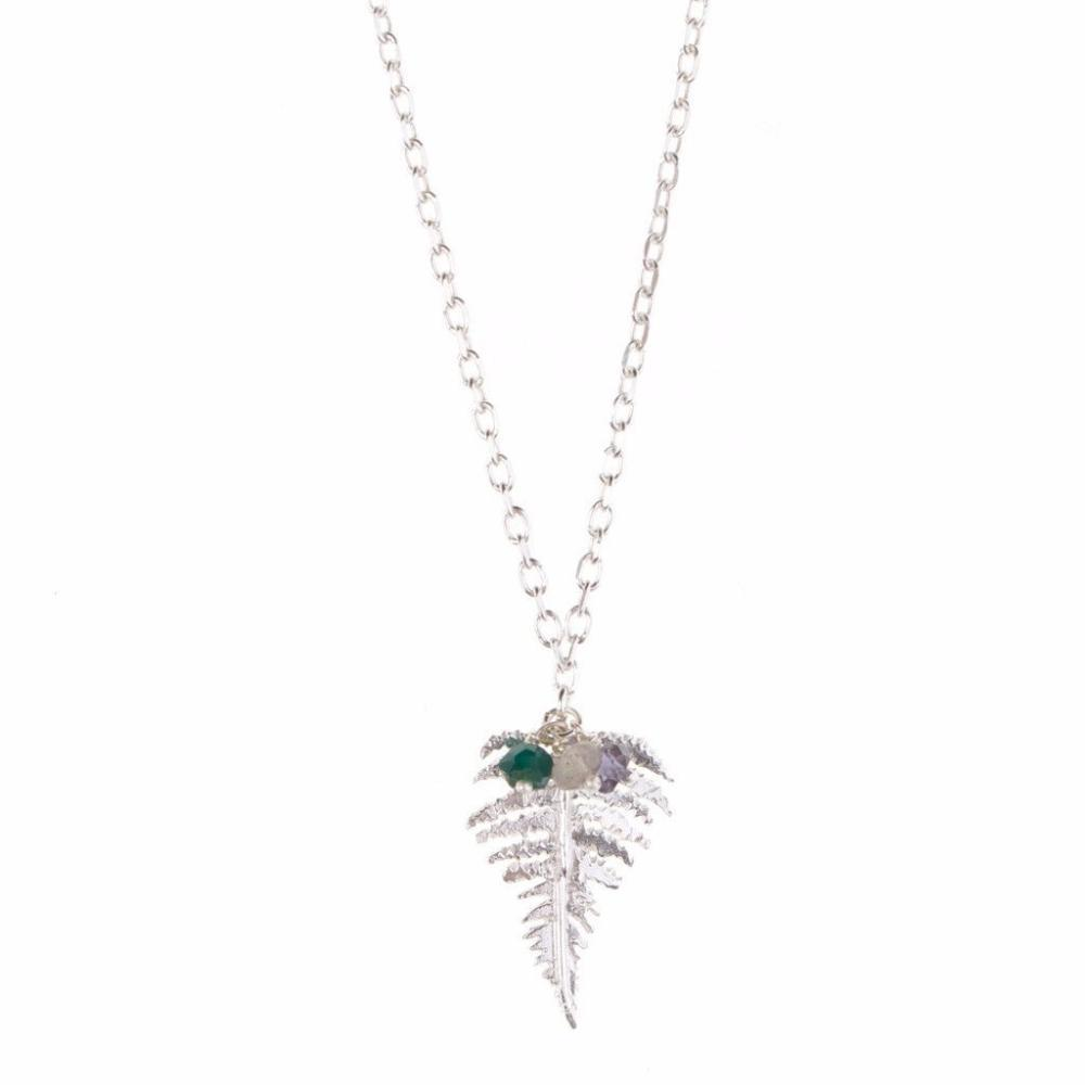 Necklace Amanda Coleman Silver fern appatite mix pendant