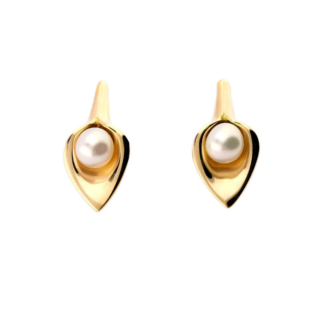 Amanda Cox Earrings Amanda Cox 9ct yellow gold white pearl calla lily stud earrings
