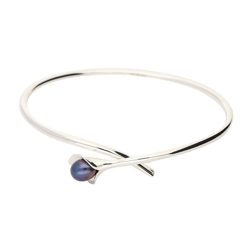 Amanda Cox Bangle Amanda Cox Silver medium black pearl calla lily bangle