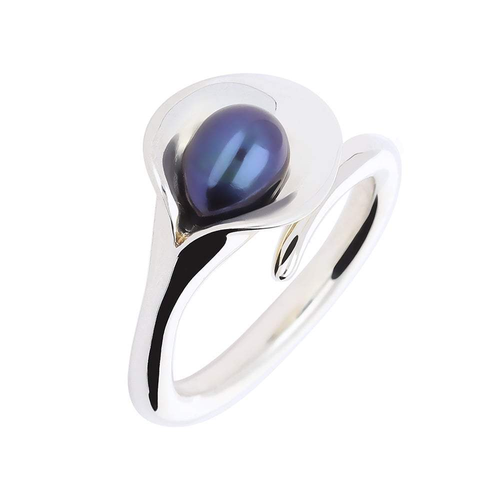 Amanda Cox Ring Amanda Cox Silver medium black pearl calla lily ring