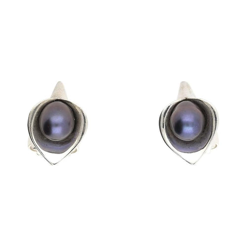 Amanda Cox Earrings Amanda Cox Silver medium black pearl calla lily stud earrings