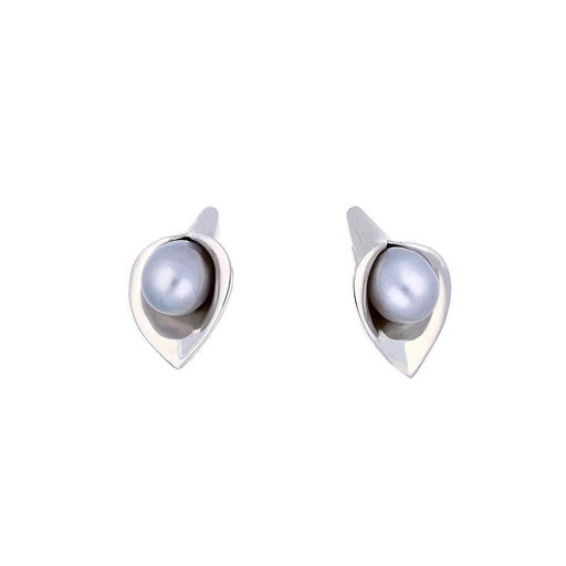 Amanda Cox Earrings Amanda Cox Silver medium grey pearl calla lily stud earrings