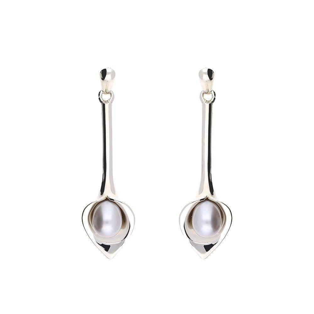 Amanda Cox Earrings Amanda Cox Silver medium grey pearl long calla lily drops