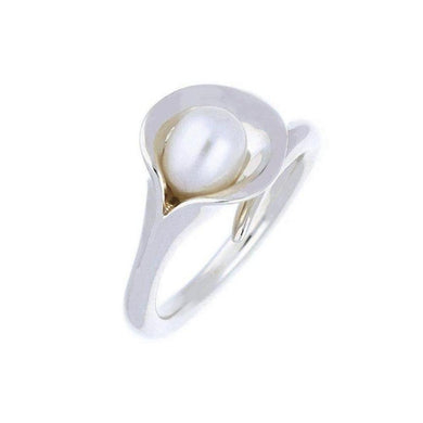 Amanda Cox Ring Amanda Cox Silver medium white pearl calla lily ring