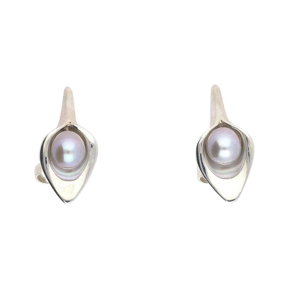 Amanda Cox Earrings Amanda Cox Silver small grey pearl calla lily stud earrings