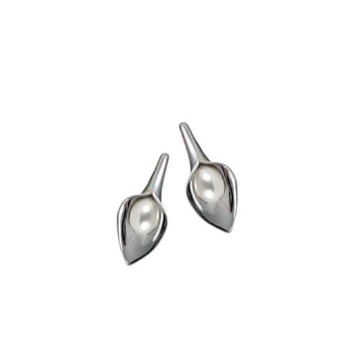 Amanda Cox Earrings Amanda Cox Silver small white pearl calla lily stud earrings