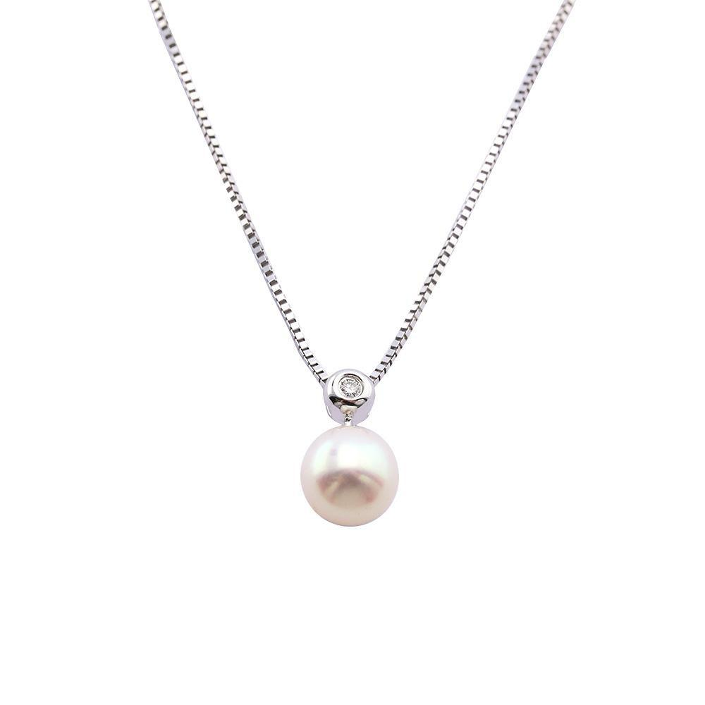 Amore Pendant Amore 14ct white Gold pearl and diamond pendant