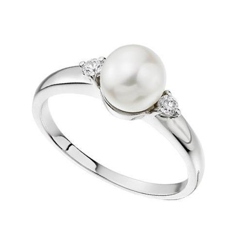 Amore Ring Amore 18ct white Gold pearl and diamond ring