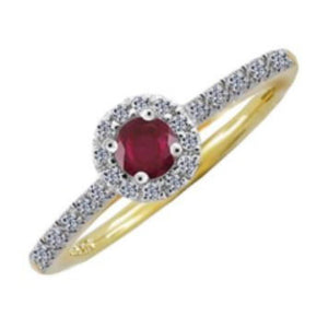 Amore Ring Amore 9ct yellow and white gold, ruby and diamond cluster ring