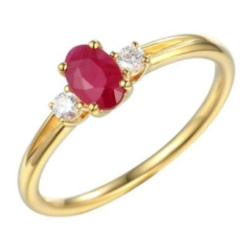 Amore Ring Amore 9ct yellow gold, ruby and diamond oval ring