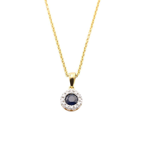 Amore Pendant Amore 9ct yellow gold sapphire and diamond halo pendant