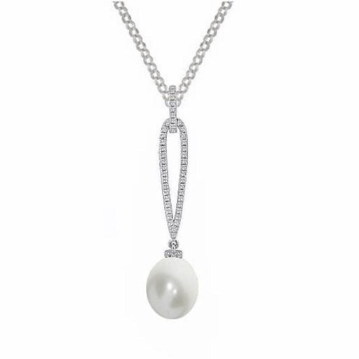 Amore Neckwear Amore Argento Silver, CZ Pearldrop Necklace