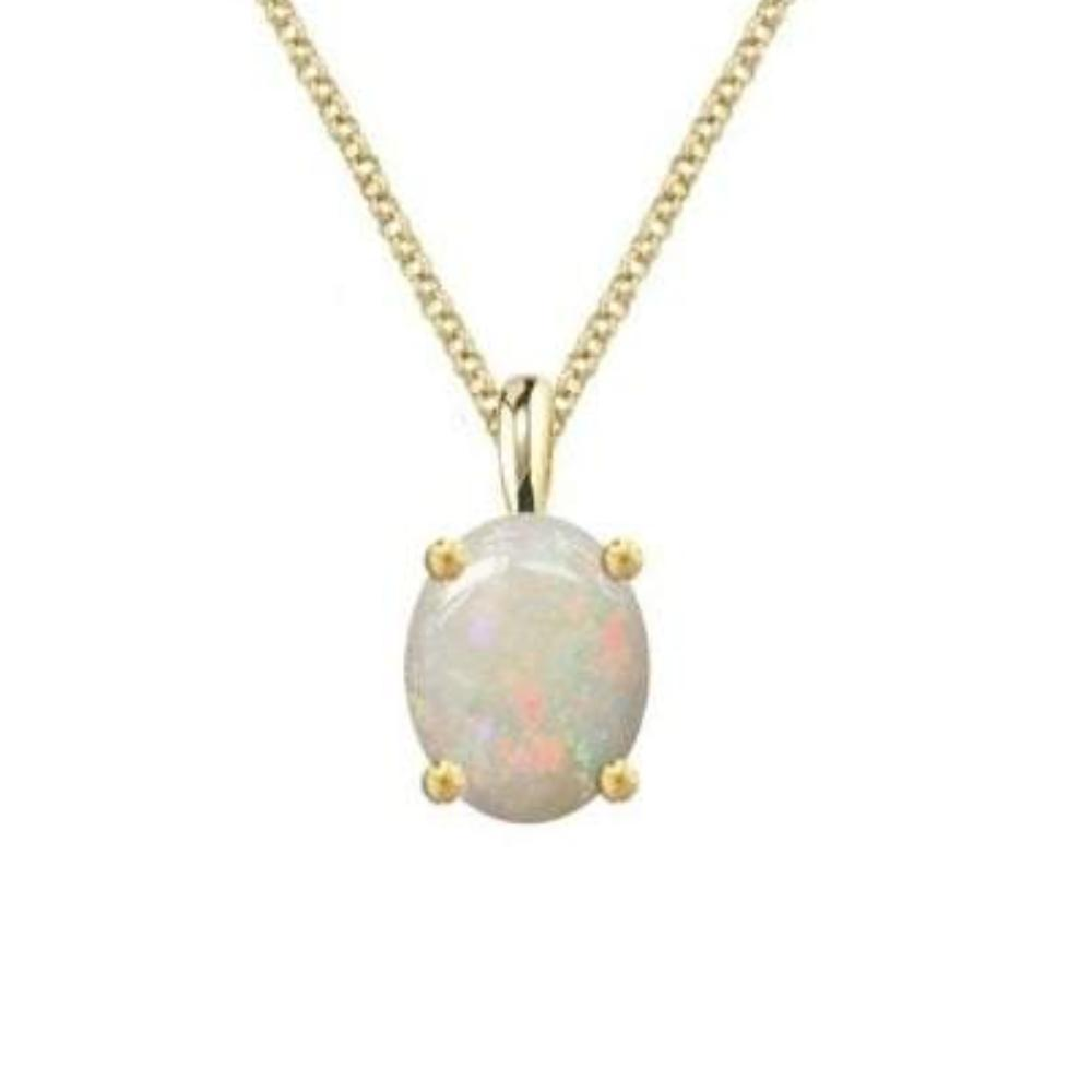 Amore Pendant Amore four claw yellow gold Opal pendant