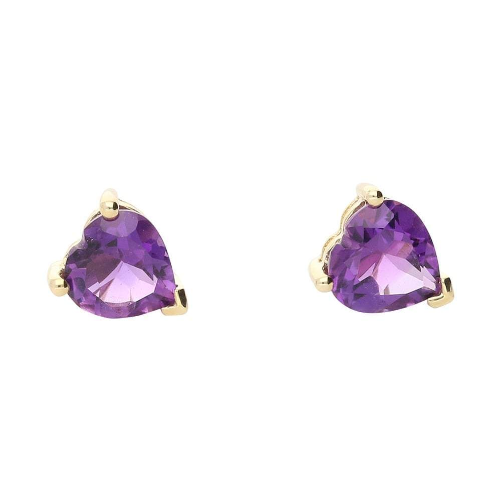 Amore Earrings Amore gold amethyst heart stud earrings