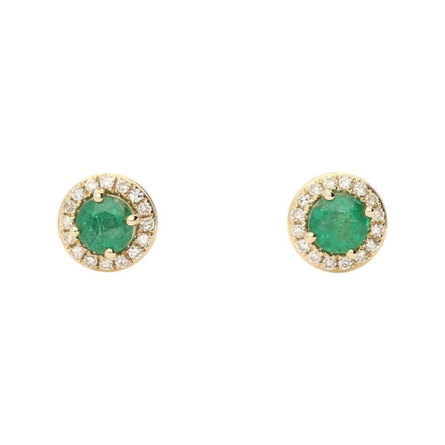 Amore Earrings Amore gold emerald diamond round stud earrings
