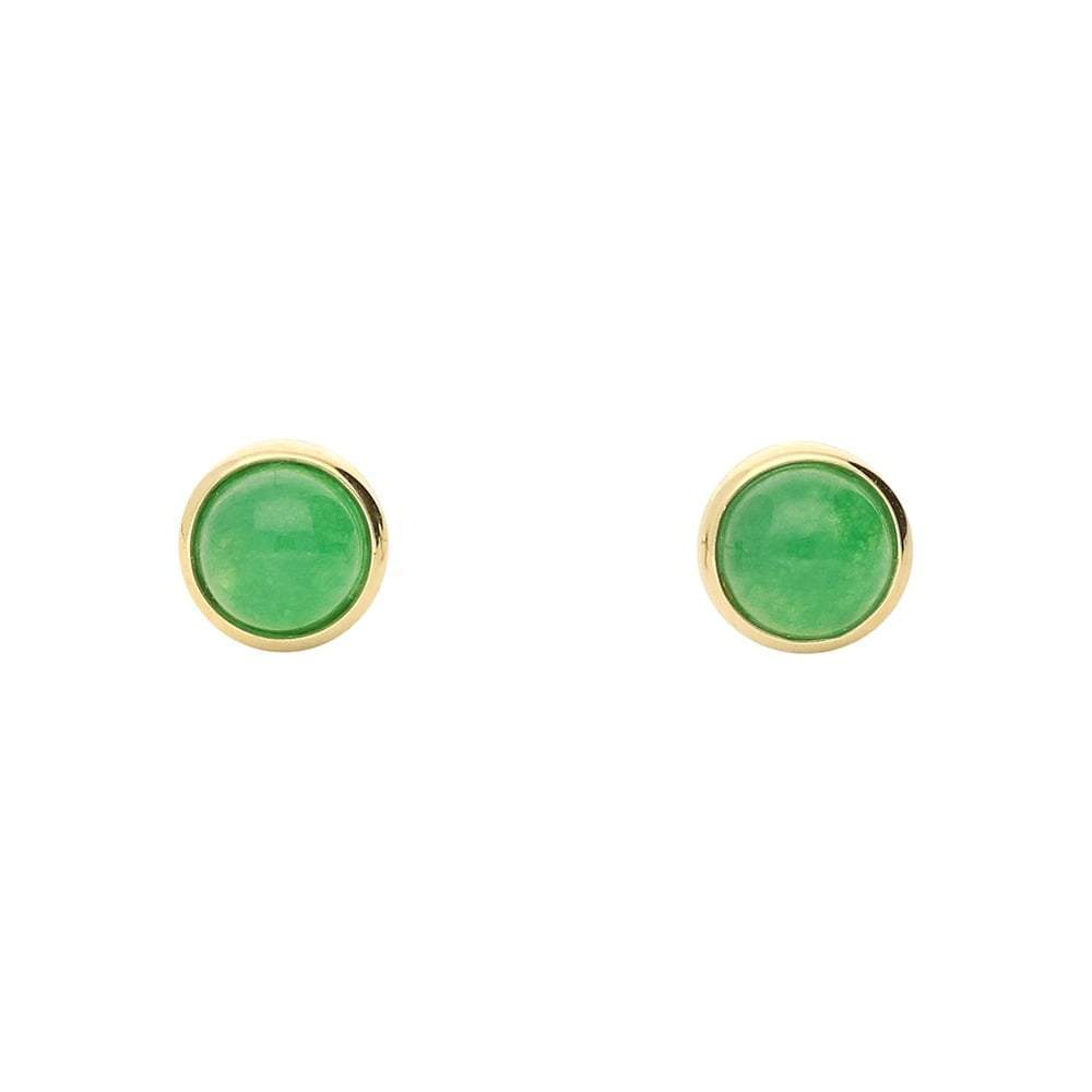 Amore Earrings Amore gold jade round stud earrings