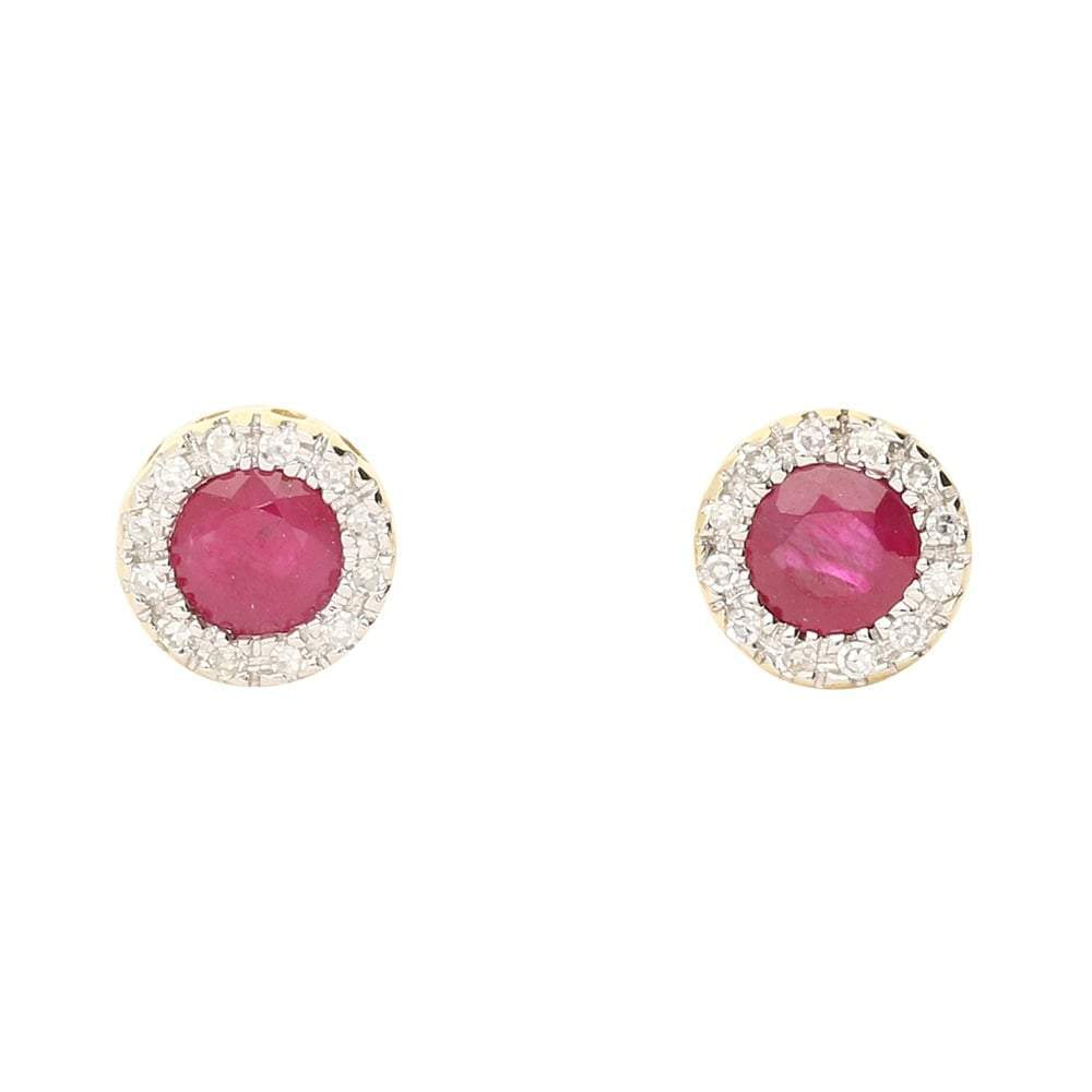 Amore Earrings Amore gold Ruby and Diamond cluster stud earrings