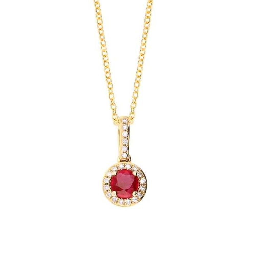 Amore Pendant Amore gold ruby & diamond round drop pendant