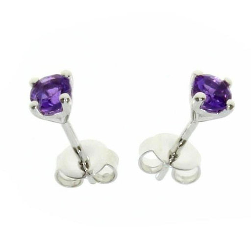 Amore Earrings Amore Silver and Amethyst round claw set stud earrings