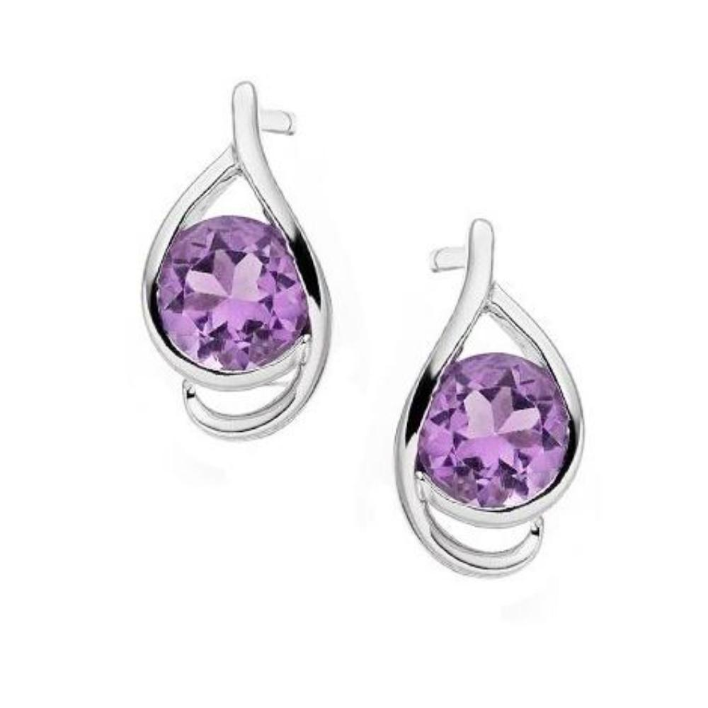 Amore Earrings Amore Silver and Amethyst teardrop studearring with swirl surround