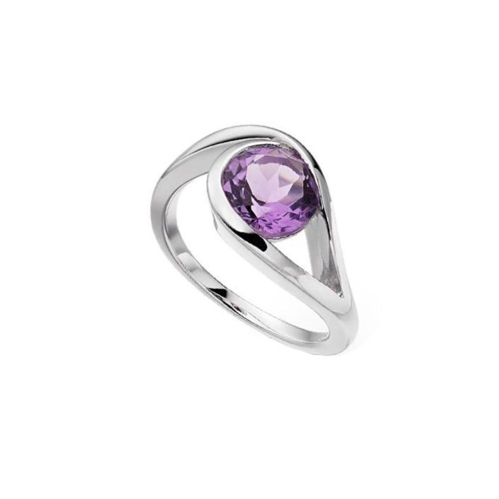 Amore Ring Amore Silver and Amethyst teardrop swirl ring