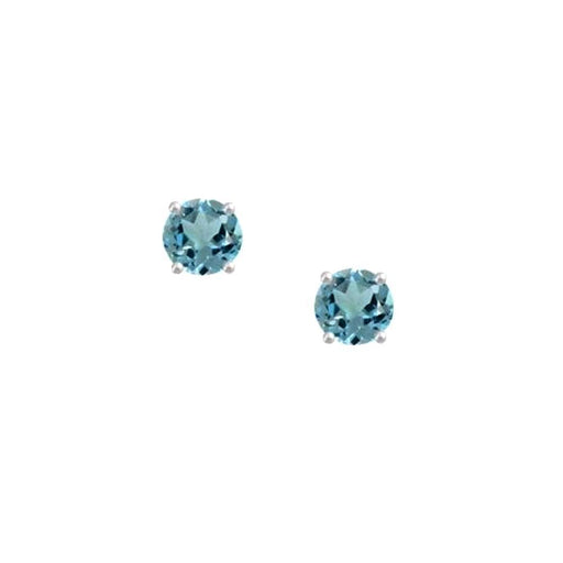 Amore Earrings Amore Silver and blue Topaz 4mm round stud earrings with claw setting