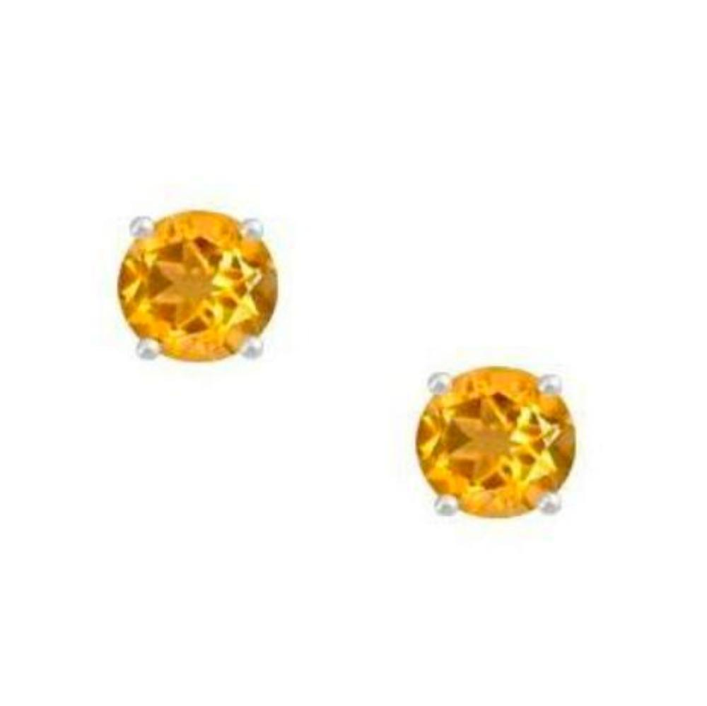 Amore Earrings Amore Silver and Citrine 4mm round stud earrings with claw setting