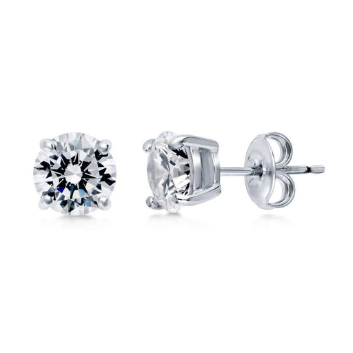 Amore Earrings Amore Silver and cubic zirconia 4mm round stud earrings with claw setting