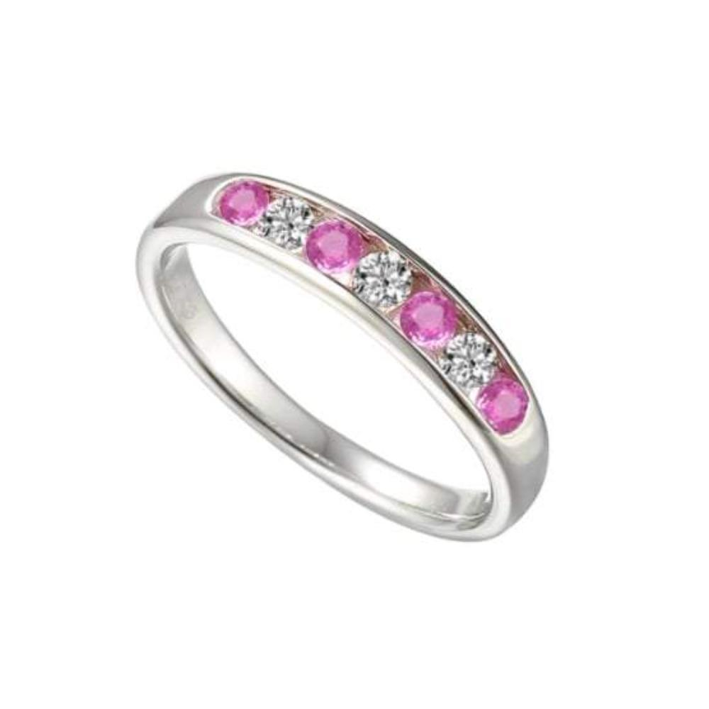 Amore Ring Amore Silver and pink sapphire half eternity ring with cubic zirconia