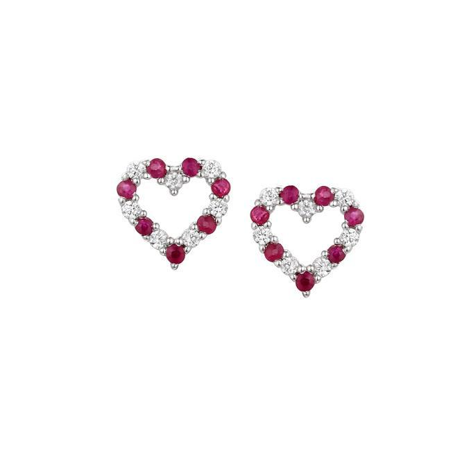 Amore Earrings Amore Silver and Ruby open heart stud earrings