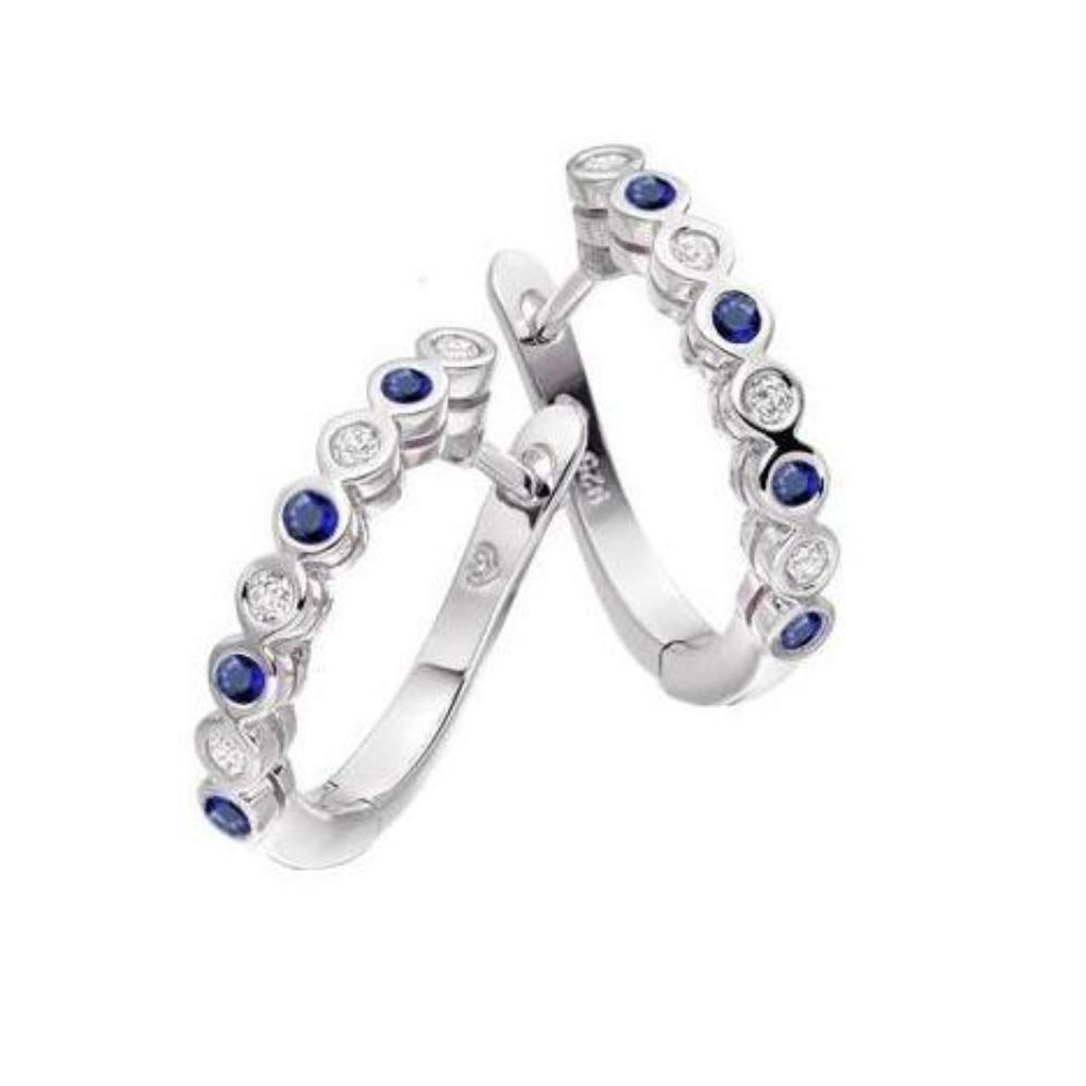 Amore Earrings Amore Silver and sapphire hoop earrings