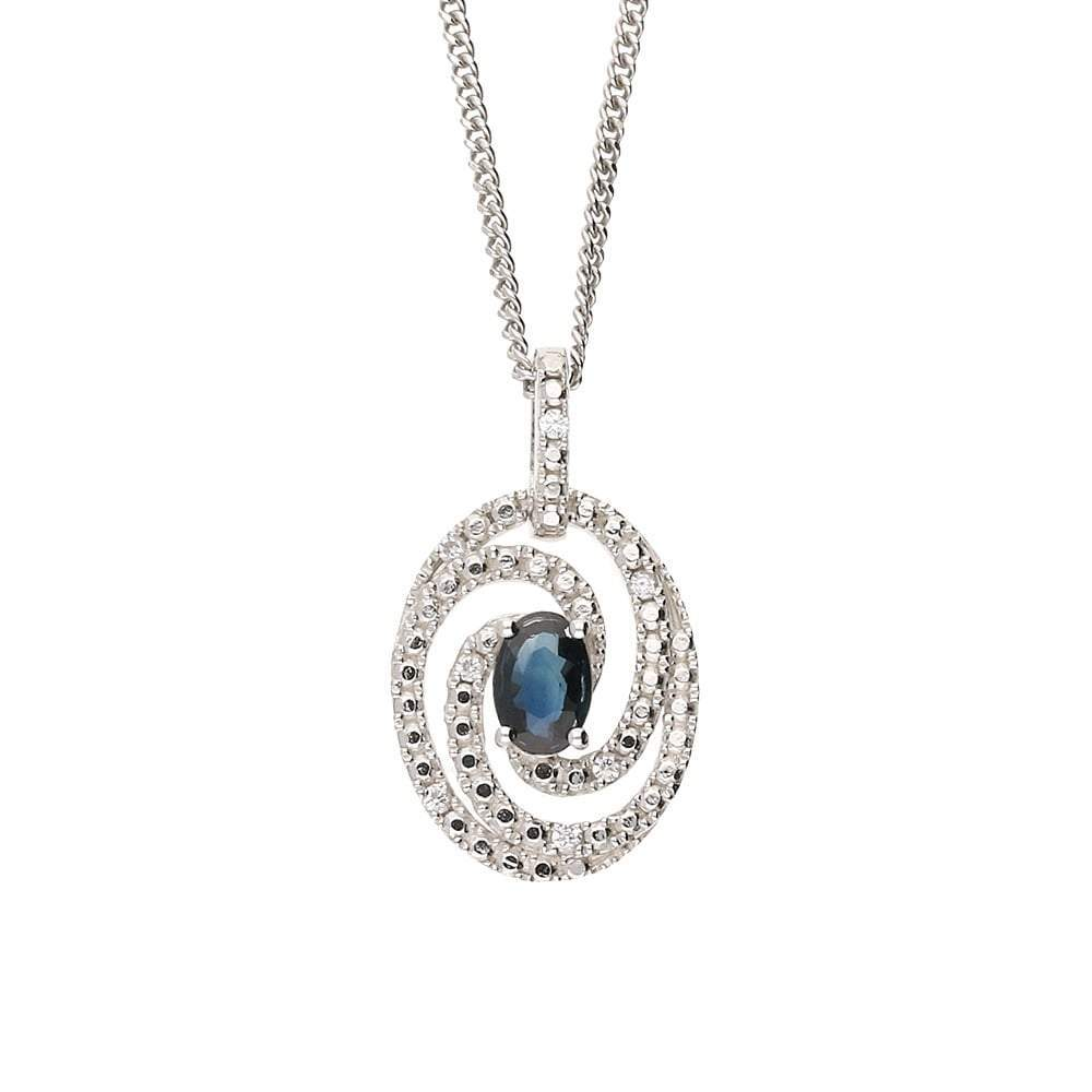 Amore Pendant Amore Silver and sapphire swirls and twirls pendant