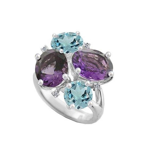 Amore Ring Amore Silver, Blue Topaz, Amethyst, cubic zirconia ring