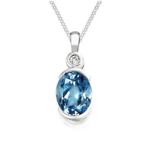 Amore Pendant Amore Silver, Blue Topaz and cubic zirconia oval pendant