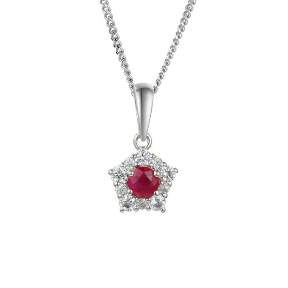 Amore Pendant Amore Silver classico cluster pendant set with Rubys